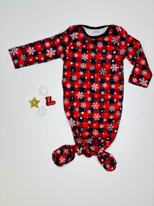 Buffalo Plaid Snowflake Baby Gown