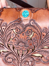 Load image into Gallery viewer, 3 Bells Tooled Fringe Turquoise Slab Purse