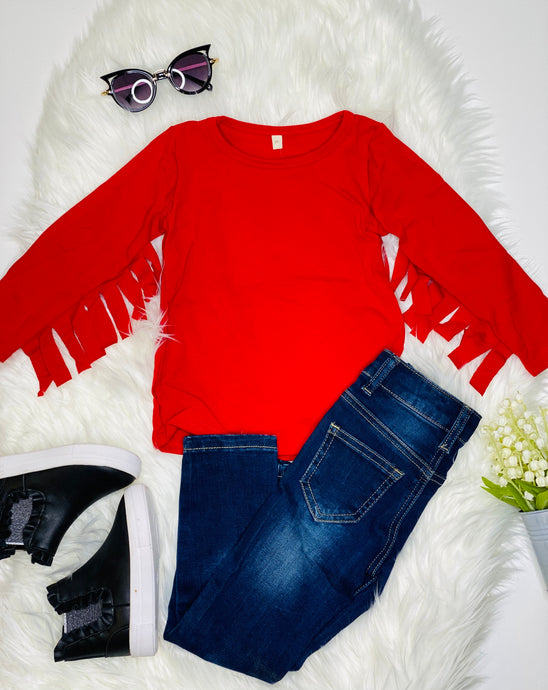 Cami Red Long Sleeve Fringe Shirt