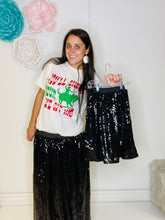 Load image into Gallery viewer, Stella Kids Black Sequin Skirt