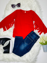Load image into Gallery viewer, Cami Red Long Sleeve Fringe Shirt - Rusty Soul