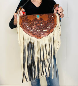 3 Bells Tooled Fringe Turquoise Slab Purse