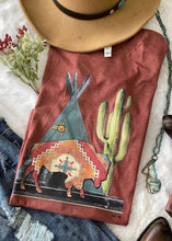Load image into Gallery viewer, Miranda Buffalo & Tee Pee Rust Tee