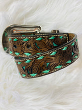 Load image into Gallery viewer, Brown Floral Print & Turquoise Stitching Belt