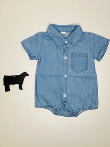 Cody Denim Baby Boy Short Sleeve Button Up