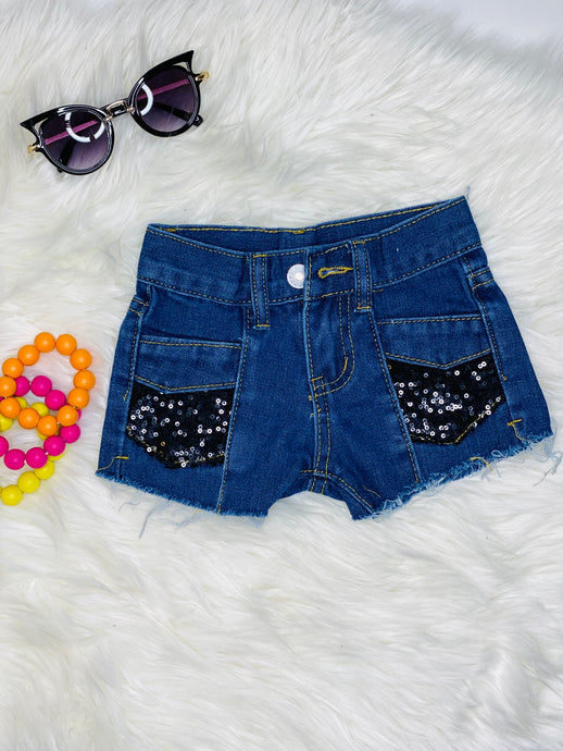 Jennifer Black Sequin Jean Shorts