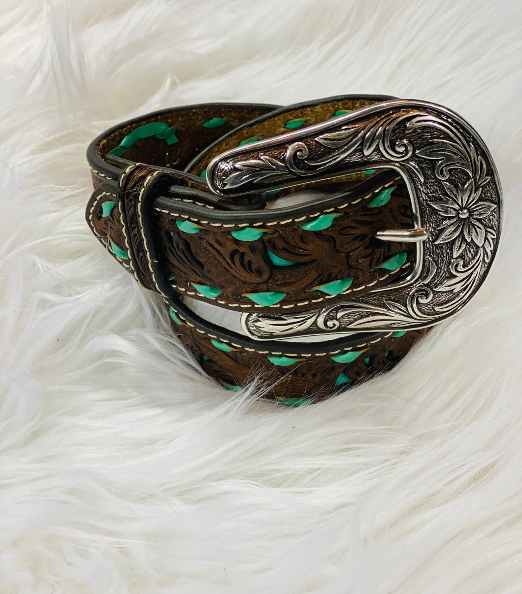 Brown Floral Print & Turquoise Stitching Belt