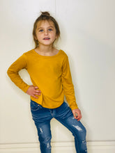 Load image into Gallery viewer, Staci Mustard Long Sleeve Shirt with Crisscross Back