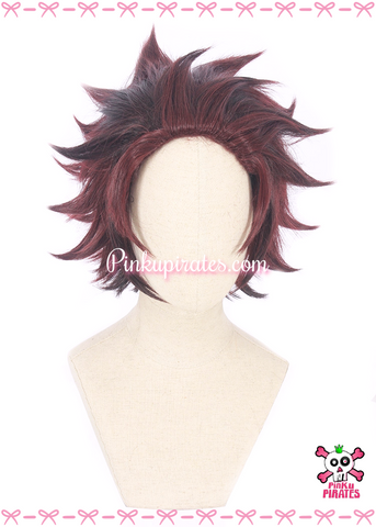 Kimetsu No Yaiba/Demon Slayer Tanjiro Kamado Short Cosplay Wig