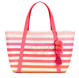 Victoria's Secret Large Pompom Beach Tote Bag
