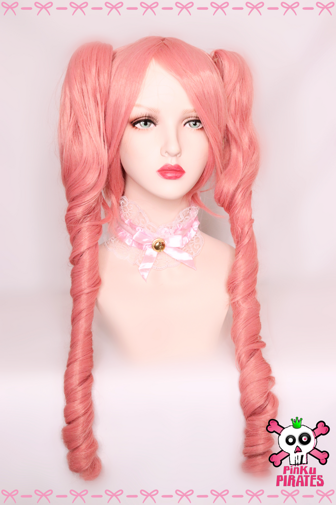 Victorian Style Clip On Pink Wig