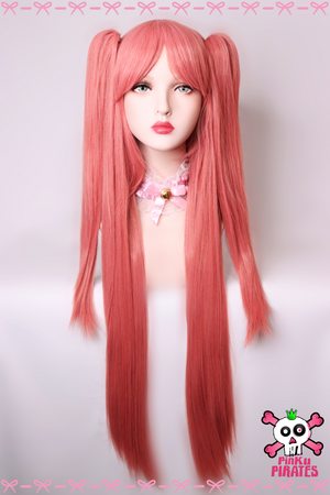 90cm Long Pink Clip on Wig