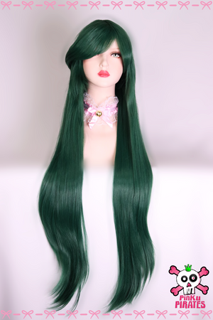 100cm Long Dark Green Cosplay Wig