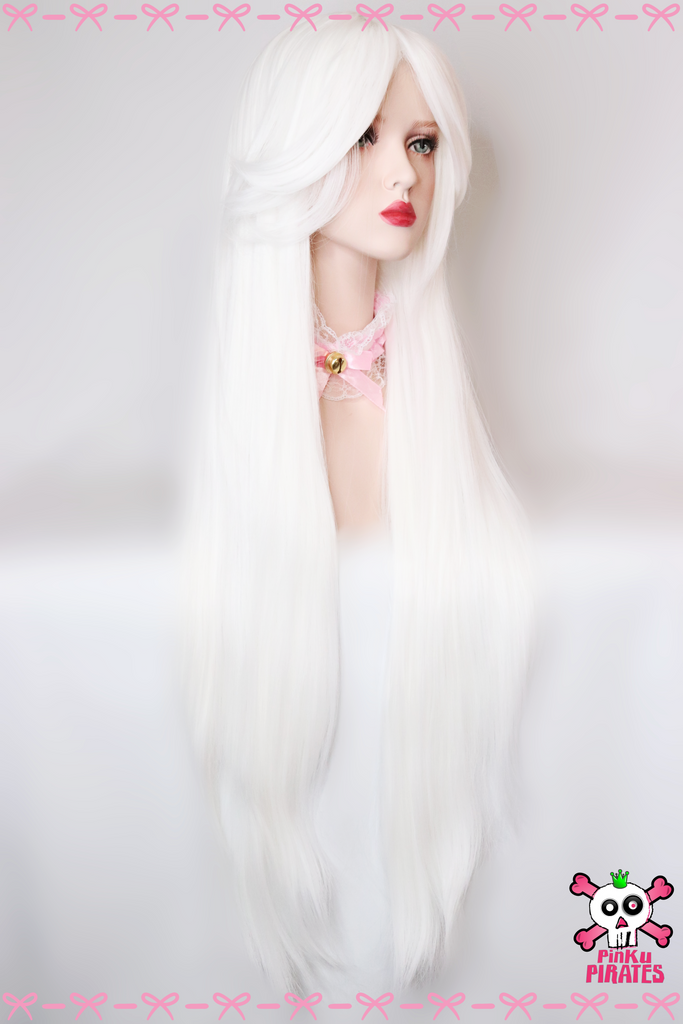 100cm Long White Cosplay Wig