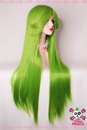 100cm Long Yellow Green Cosplay Wig