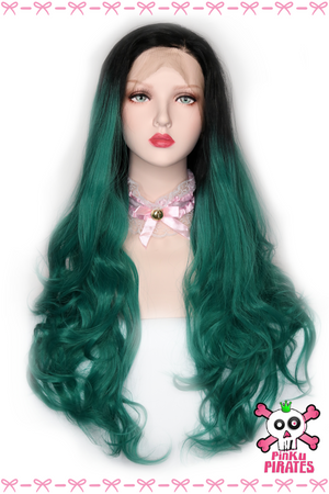 Ombre Green Long Body Wave Lace Front Wig