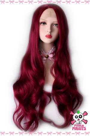 Very Berry Wine Red Long Natural Wave Front Lace Wig