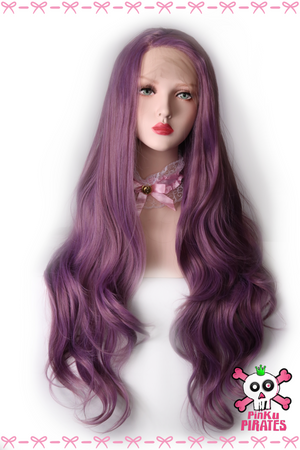 Purple Long Natural Wave Front Lace Wig
