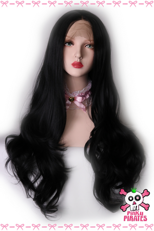 Black Long Natural Wave Front Lace Wig