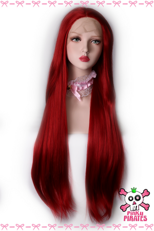Red Long Straight Front Lace Wig
