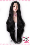86cm Super Long Black Straight Wave Lace Front Wig