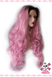 Ombre Pink Long Body Wave Lace Front Wig