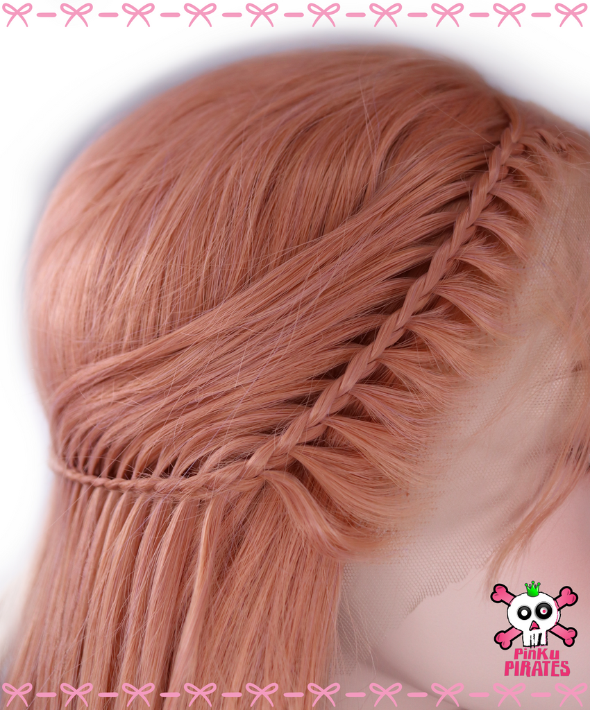 Peach Pink Princess Long Straight Braided Lace Front Wig