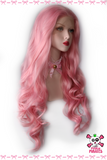 Pink Long Curly Free Part Natural Hairline Front Lace Wig