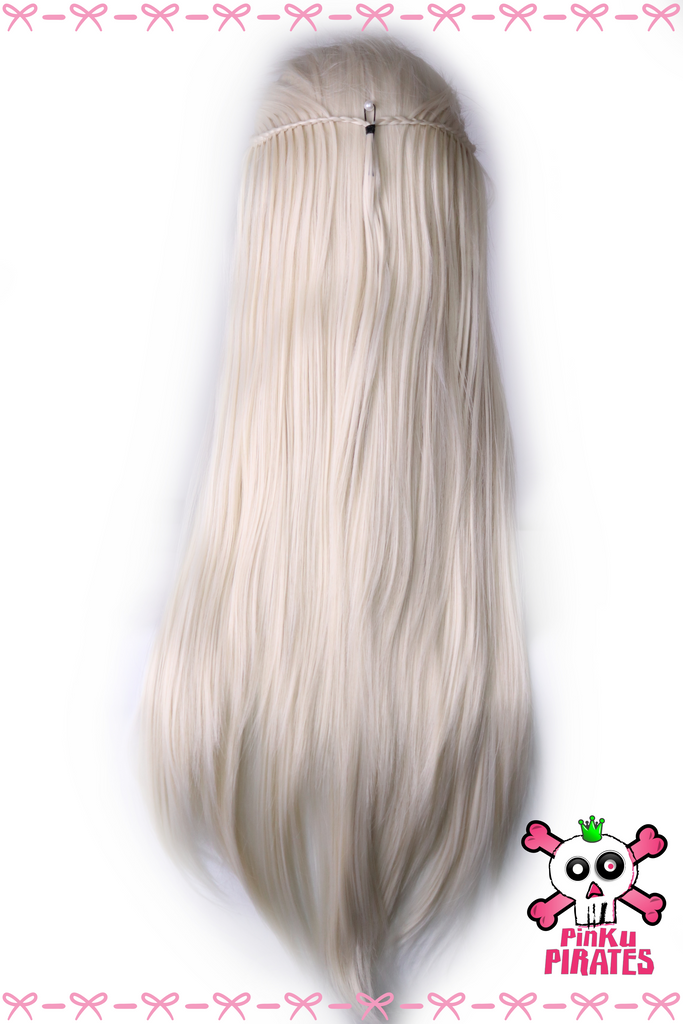 Platinum Blonde Princess Long Straight Braided Lace Front Wig