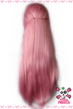 Pink Princess Braided Long Straight Synthetic Front Lace Wig