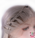 Grey Princess Braided Long Straight Front Lace Wig
