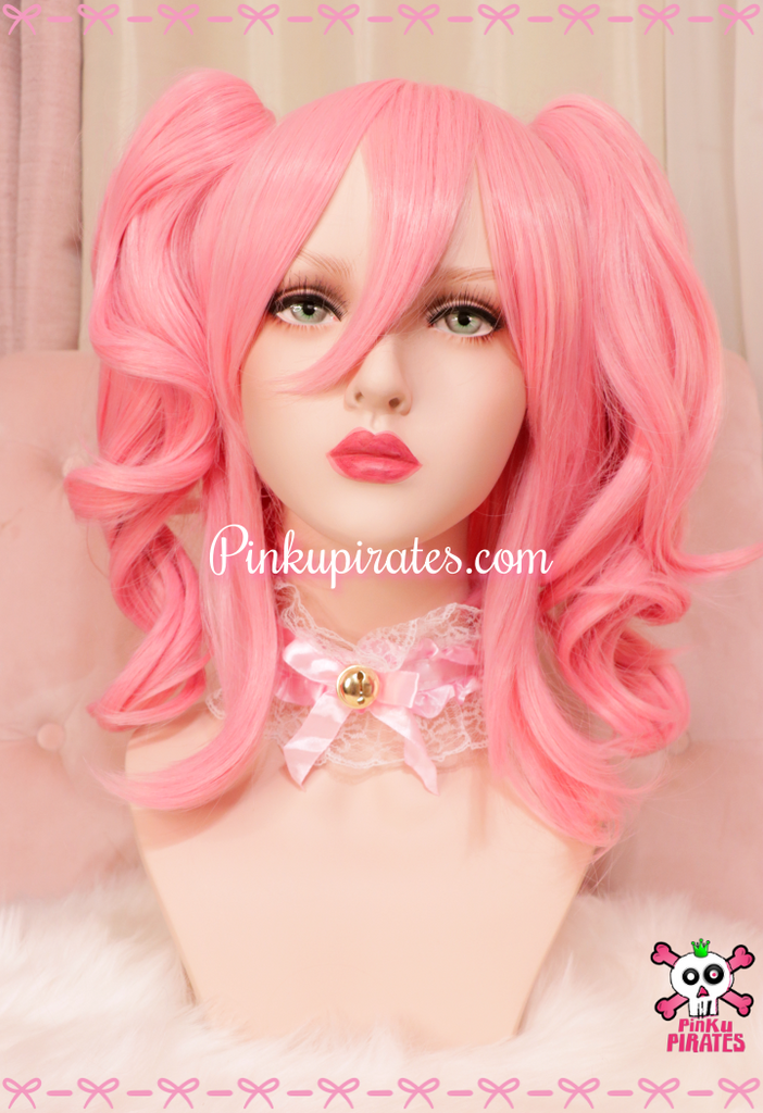 Short Curly Pink Clip-On Wig