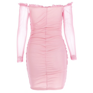 Doll Like Pink Ruffle Sheer Bodycon Dress