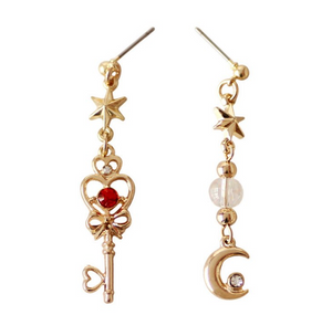 Magical Moon & Star Key Fashion Earrings