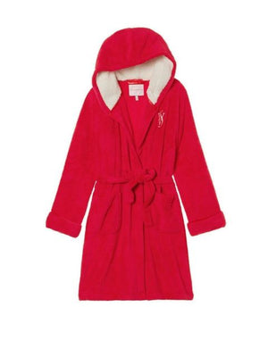 Victoria's Secret Sherpa Cozy Hooded Short Robe -Red
