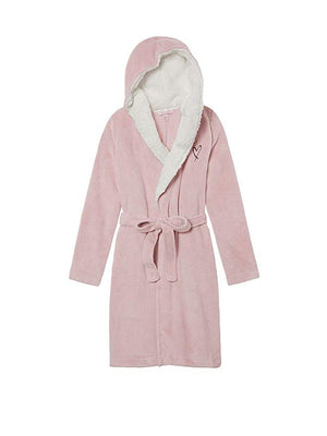 Victoria's Secret Sherpa Lined Hooded Robe- Lilac Pink