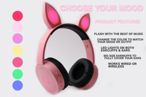 Pinku Pirates Usagi Glow Headphones