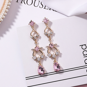 Light Luxury Pink Rhinestone Fashion Earrings