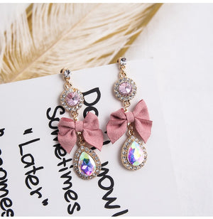 Korean Style Luxury Crystal Sweet Bow Fashion Earrings