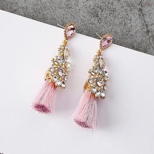 Princess Pink Rhinestone Tassel Fashion Earrings