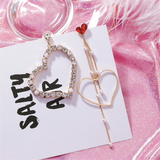 Love Heart Shiny Crystal Assymmetrical Fashion Earrings