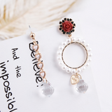 Rozen Pearl Heart Crystal Dangling Fashion Earrings