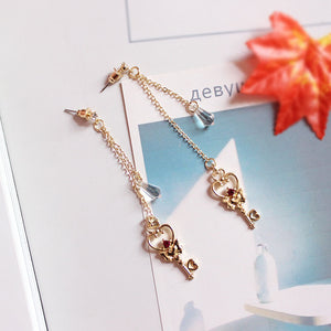 Heart Key with Dangling Crystal Fashion Earrings