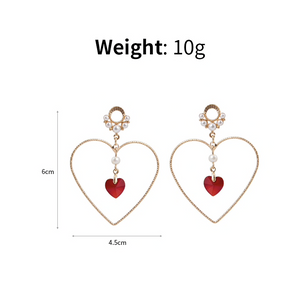 Love Heart Drop Dangle Earrings