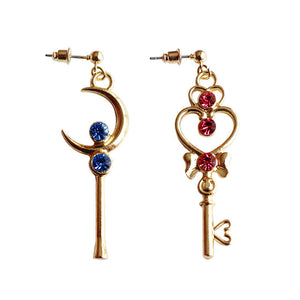 Key & Heart Moonie Fashion Earrings