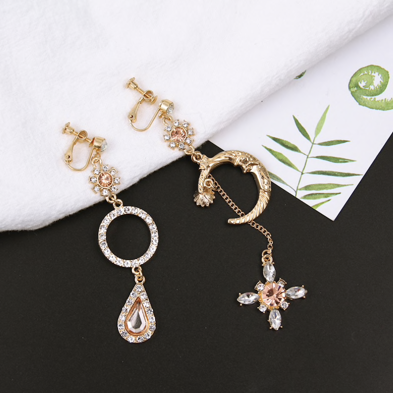 Korean Style Moon Goddess Asymmetrical Earrings