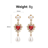 Royale Red Rhinestone Pearldrop Fashion Earrings