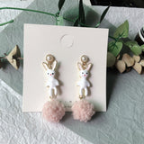 Korean Handmade Bunny Pompom Earrings