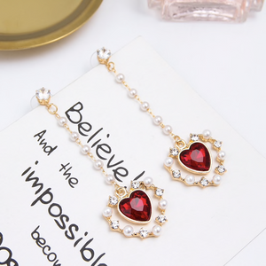 Dangling Pearl Heart Rhinestone Fashion Earrings