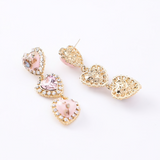 Sweet Style Pink Faux Marble Heart Earrings